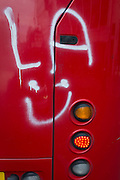 Rare graffiti sprayed on the rear of a red London Routemaster bus, on 3rd February 2017, London, England.