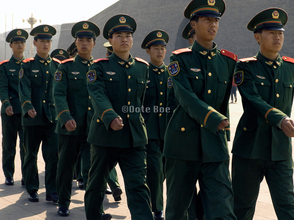 group of young soldiers marching Beijing China