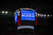 "The overhead ""jumbotron"" during the Bernie rally in Liacouras Arena on Temple's campus in Philadelphia, PA"