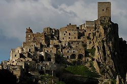 Craco, Basilicata, Italy - The gost town. Craco was abandoned in the 1963 for a landslide.