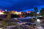 Otter Creek Falls at twilight, Middlebury, Vermont.