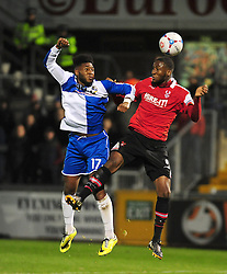 Bristol Rovers' Ellis Harrison is challenged by Kidderminster Harriers's Marvin Johnson - Photo mandatory by-line: Neil Brookman/JMP - Mobile: 07966 386802 - 15/11/2014 - SPORT - Football - Bristol - Memorial Stadium - Bristol Rovers v Kidderminster - Vanarama Football Conference