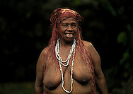 Vanuatu, Malampa Province, Malekula Island, big nambas woman with teeth removed