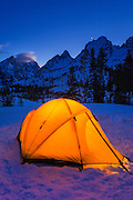 Winter camp at dusk under the Tetons, Grand Teton National Park, Wyoming