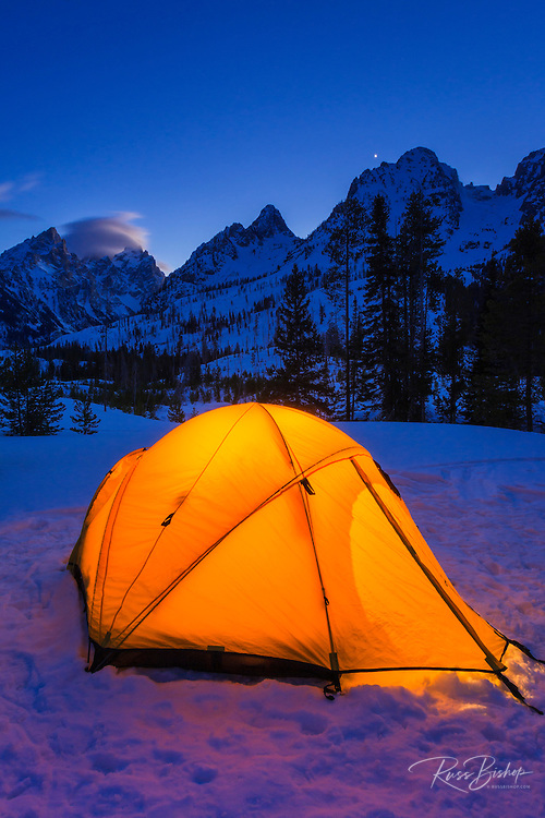 Winter camp at dusk under the Tetons, Grand Teton National Park, Wyoming