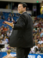 March 29, 2010; Sacramento, CA, USA; Xavier Musketeers head coach Kevin McGuff argues a call during the first half against the Stanford Cardinal in the finals of the Sacramental regional in the 2010 NCAA womens basketball tournament at ARCO Arena. Stanford defeated Xavier 55-53.