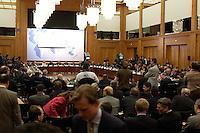"""09 JAN 2004, BERLIN/GERMANY:<br /> Uebersicht des Weltsaales vor Beginn der Konferenz des Internationalen Bertelsmann-Forums """"Europa auf der Suche nach politischer Ordnung"""", Auswaertiges Amt<br /> IMAGE: 20040109-02-017<br /> KEYWORDS: Bertelsmann Forum, Weltsaal, Übersicht"""