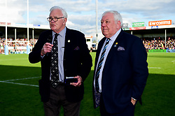 CEO Tony Rowe OBE is presented with a commemorative award for recognition of SW Comms 25 years of sponsorship by John Baxter - Mandatory by-line: Ryan Hiscott/JMP - 19/10/2019 - RUGBY - Sandy Park - Exeter, England - Exeter Chiefs v Harlequins - Gallagher Premiership Rugby