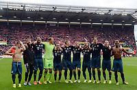 Schlussjubel FC Bayern v.l. Xherdan Shaqiri, Thomas Mueller, Jerome Boateng, Torwart Manuel Neuer, Philipp Lahm, Bastian Schweinsteiger, Toni Kroos, Mario Goetze, Javier ''Javi'' Martinez, Franck Ribery, David Alaba<br /> Fussball Bundesliga, FSV Mainz 05 - FC Bayern München<br /> <br /> Norway only