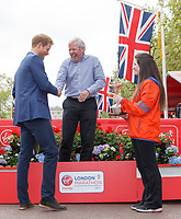 Brendan Foster with Prince Harry during the presentation for his lifetime achievement award. The Virgin Money London Marathon, 23rd April 2017.<br /> <br /> Photo: Ben Queenborough for Virgin Money London Marathon<br /> <br /> For further information: media@londonmarathonevents.co.uk