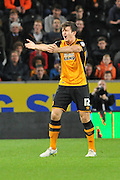 Harry Maguire  remonstrates with the ref during the Capital One Cup match between Hull City and Swansea City at the KC Stadium, Kingston upon Hull, England on 22 September 2015. Photo by Ian Lyall.