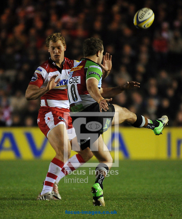 Picture by Seb Daly/Focus Images Ltd +447738 614630.03/11/2012.Nick Evans relieves the pressure from Gloucester by kicking long down field during the Aviva Premiership match at Twickenham Stoop , London.