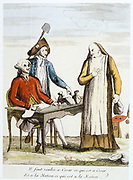 French Revolution 1789. Anti-clerical caricature on confiscation of wealth of the Church.  A monk, representing the Church, being told to render unto Caesar what is Caesar's and to the Nation what is the Nation's.  Contemporary hand-coloured engraving.