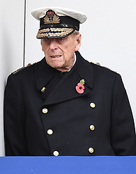Members of The Royal Family attend Remembrance Sunday at The Cenotaph, London, UK, on the 12th November 2017. 12 Nov 2017 Pictured: Prince Philip, Duke of Edinburgh. Photo credit: James Whatling / MEGA TheMegaAgency.com +1 888 505 6342