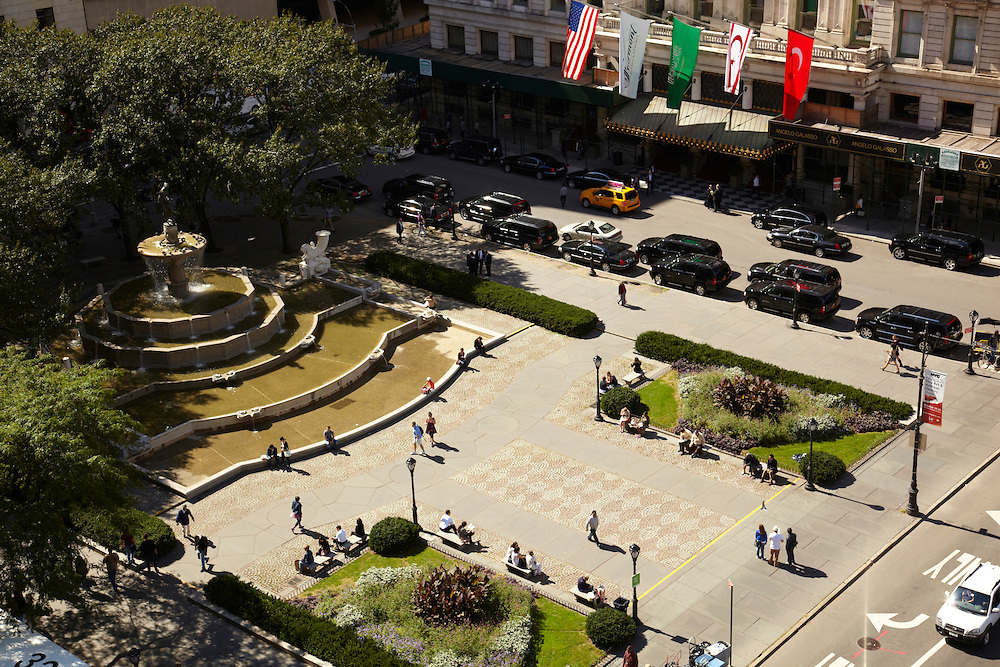 View of the Pulitzer Fountain and the Plaza Entrance from 781 Fifth Avenue, 9th floor, The Sherry Netherland