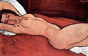 Amedeo Modigliani (1884–1920) Italian painter and sculptor. 'Nude seated on a sofa' 1917 Oil on canvas 'Reclining nude with arms folded behind her head'  1916