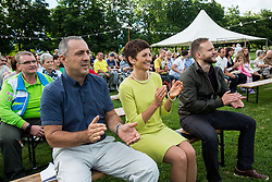 Damijan Lazar, Maja Makovec Brencic and Gregor Kosi at Opening of photo exhibition of Slovenian Paralympic Athletes before Rio 2016, on July 14, 2016 in Arboretum Volcji potok, Slovenia. Photo by Vid Ponikvar / Sportida