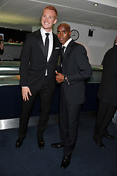 Left to right, GREG RUTHERFORD and MO FARAH at the GQ Men of The Year Awards 2012 held at The Royal Opera House, London on 4th September 2012.