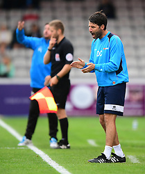 Lincoln City manager Danny Cowley shouts instructions to his team from the dug-out<br /> <br /> Picture: Chris Vaughan/Chris Vaughan Photography<br /> <br /> Football - Vanarama National League - Lincoln City Vs Barrow - Saturday 17th September 2016 - Sincil Bank - Lincoln<br /> <br /> Copyright © 2016 Chris Vaughan Photography. All rights reserved. Unit 11, Churchill Business Park, Bracebridge Heath, Lincoln, LN4 2FF - Telephone: 07764170783 - info@chrisvaughanphotography.co.uk - www.chrisvaughanphotography.co.uk