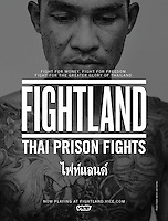 A Fightland advertisement for VICE, featuring a portrait of a Muay Thai fighter in prison in Bangkok.