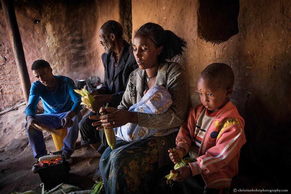 Beles Sunrise project BSP, water harvesting & irrigation. Widower Araya Hadish (63) with his son Amami Araya (21), his daughter Abeba Araya (29), her son Capital Alem (4) and her baby boy. Negassi Alem 3 months).