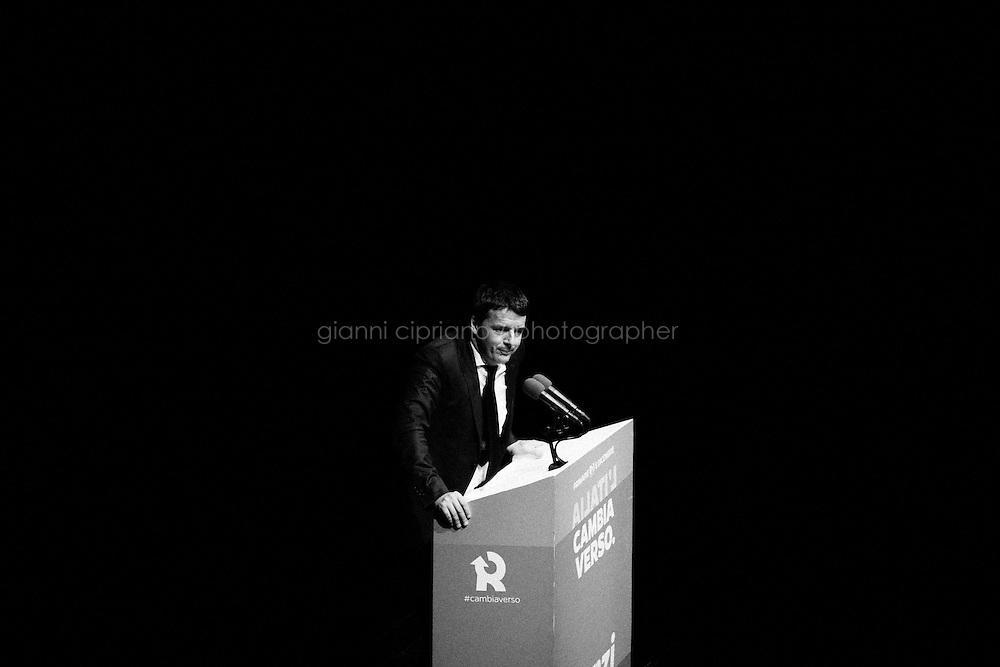 ROME, ITALY - 3 December 2013: Intervento di Matteo Renzi, candidato alla segreteria del Partito Democratico, al Teatro Olimpico  a Roma il 3 dicembre 2013.<br /> <br /> Le primarie del Partito Democratico si terranno l'8 dicembre 2013