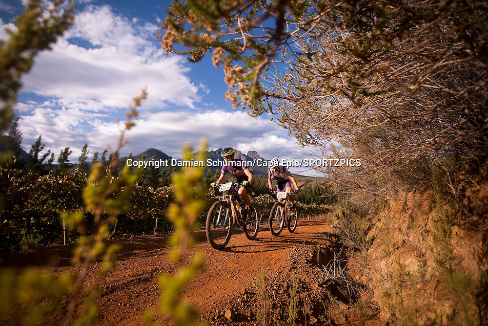 Team OKLM Scott Vauban during stage 6 of the 2015 Absa Cape Epic Mountain Bike stage race from the Cape Peninsula University of Technology in Wellington, South Africa on the 21 March 2015<br /> <br /> Photo by Damien Schumann/Cape Epic/SPORTZPICS<br /> <br /> PLEASE ENSURE THE APPROPRIATE CREDIT IS GIVEN TO THE PHOTOGRAPHER AND SPORTZPICS ALONG WITH THE ABSA CAPE EPIC