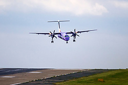 © Licensed to London News Pictures. 14/06/2018. Leeds UK. A Flybe aircraft struggles to land in heavy cross winds at Englands highest airport, Leeds Bradford as Storm Hector begins to batter Britain. Photo credit: Andrew McCaren/LNP