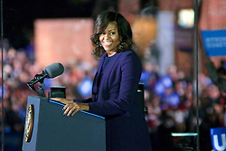 First Lady Michelle Obama on stage at stage at the final rally of Democratic Presidential candidate Hillary Clinton, on November 7, 2016, at Independence Hall, in Philadelphia, PA., USA. The same city her campaign started in, also provides the final stage for Clinton as she is joined by her family and Michelle and Barrack Obama.
