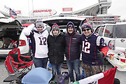 Jan 20, 2019; Kansas City, MO, USA; New England Patriots fans talegate and pose for a picture prior to the start of the AFC Championship game at Arrowhead Stadium. The Patriots defeated the Chiefs 37-31 in overtime to advance to their fifth Super Bowl in eight seasons. (Robin Alam/Image of Sport)