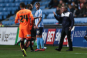 Colchester United Manager Kevin Keen  has a harsh word with the referee during the Sky Bet League 1 match between Coventry City and Colchester United at the Ricoh Arena, Coventry, England on 29 March 2016. Photo by Simon Davies.