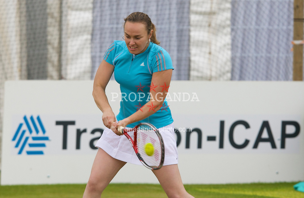 LIVERPOOL, ENGLAND - Thursday, June 12, 2008: Martina Hingis (SUI) warms-up before her Legends' Singles match tomorrow during the Tradition-ICAP Liverpool International Tennis Tournament at Calderstones Park. (Photo by David Rawcliffe/Propaganda)