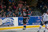 KELOWNA, CANADA - OCTOBER 21: Kole Lind #16 of the Kelowna Rockets celebrates a goal against the Tri-City Americans on October 21, 2016 at Prospera Place in Kelowna, British Columbia, Canada.  (Photo by Marissa Baecker/Shoot the Breeze)  *** Local Caption *** Kole Lind;