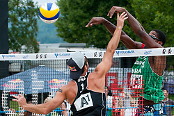 Todd Rogers of USA vs Thiago Santos Barbosa of Brasil at A1 Beach Volleyball Grand Slam tournament of Swatch FIVB World Tour 2011, on August 5, 2011 in Klagenfurt, Austria. (Photo by Matic Klansek Velej / Sportida)