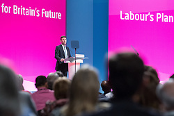 © Licensed to London News Pictures . 24/09/2014 . Manchester , UK . The Shadow Health Secretary ANDY BURNHAM delivers a speech on the future of the NHS to the conference . The Labour Party Conference 2014 . Photo credit : Joel Goodman/LNP