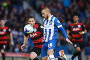 Brighton striker Jiri Skalak looks to control a high ball during the Sky Bet Championship match between Brighton and Hove Albion and Queens Park Rangers at the American Express Community Stadium, Brighton and Hove, England on 19 April 2016. Photo by Bennett Dean.