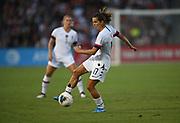 United States forward Tobin Heath (17) kicks the ball in an international friendly women's soccer match, Saturday, Aug. 3, 2019,  in Pasadena, Calif., The U.S. defeated Ireland 3-0. (Dylan Stewart/Image of Sport)