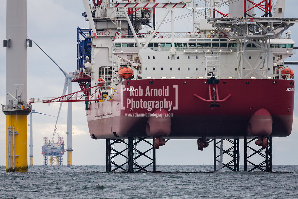 Offshore Wind Farm installation vessel, Seajacks Scylla, working on Walney Extension Offshore Wind Farm
