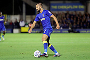 AFC Wimbledon defender George Francomb (7) dribbling during the EFL Sky Bet League 1 match between AFC Wimbledon and Milton Keynes Dons at the Cherry Red Records Stadium, Kingston, England on 22 September 2017. Photo by Matthew Redman.