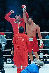02.07.2011, Imtech Arena, Hamburg, GER, WM Fight IBF, IBO and WBO world champion Wladimir Klitschko vs WBA champion David Haye, im Bild Sieger Wladimir Klitschko jubelt. // during the WM fight between Wladimir Klitschko and David Haye, in the Imtech Arena, Hamburg, 2011/07/02. .EXPA Pictures © 2011, PhotoCredit: EXPA/ nph/  Witke       ****** out of GER / CRO  / BEL ******