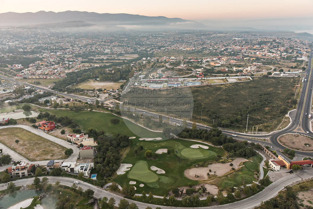 Ventanas golf course outside San Miguel de Allende, Mexico at dawn with the Bajio Mountains behind.