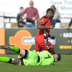 TELFORD COPYRIGHT MIKE SHERIDAN 6/4/2019 - PENALTY APPEAL. Dan Udoh of AFC Telford is brought down by Matt Urwin during the Vanarama Conference North fixture between Chorley FC and AFC Telford United at Victory Park
