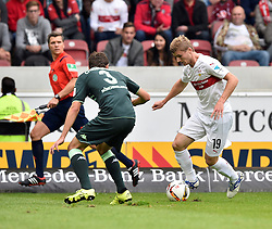 26.09.2015, Mercedes Benz Arena, Stuttgart, GER, 1. FBL, VfB Stuttgart vs Borussia Moenchengladbach, 7. Runde, im Bild Zweikampf, Aktion Timo Werner VfB Stuttgart (rechts) gegen Andreas Christensen Borussia Moenchengladbach // during the German Bundesliga 7th round match between VfB Stuttgart and Borussia Moenchengladbach at the Mercedes Benz Arena in Stuttgart, Germany on 2015/09/26. EXPA Pictures © 2015, PhotoCredit: EXPA/ Eibner-Pressefoto/ Weber<br /> <br /> *****ATTENTION - OUT of GER*****