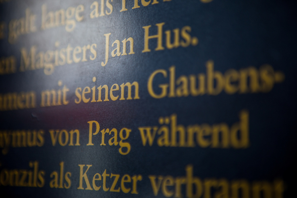 "Memorial plate with an inscription reminding about  Jan Hus who stayed 1414 in this house hosted by a widow called ""Fida"". The house is located in the so called Hussenstraße Nr. 22 (Hussites Street) in the city of Konstanz (Constance) at the lake Constance. He was convicted as a heretic by the Council of Constance and burned at stake. His ideas and his death stirred up a revolution in Bohemia."