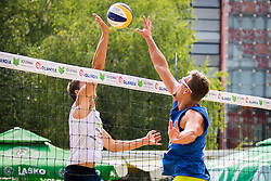 Zlatko Pulko of SK Vienpi vs Jernej Potocnik of Debitelduring Qlandia Beach Challenge 2015 and Beach Volleyball Slovenian National Championship 2015, on July 25, 2015 in Kranj, Slovenia. Photo by Ziga Zupan / Sportida