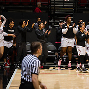 24 February 2018: The San Diego State women's basketball team closes out it's home schedule of the regular season Saturday afternoon against San Jose State. The San Diego State bench celebrates after a basket in the second half. The Aztecs beat the Spartans 85-78 at Viejas Arena.<br /> More game action at sdsuaztecphotos.com