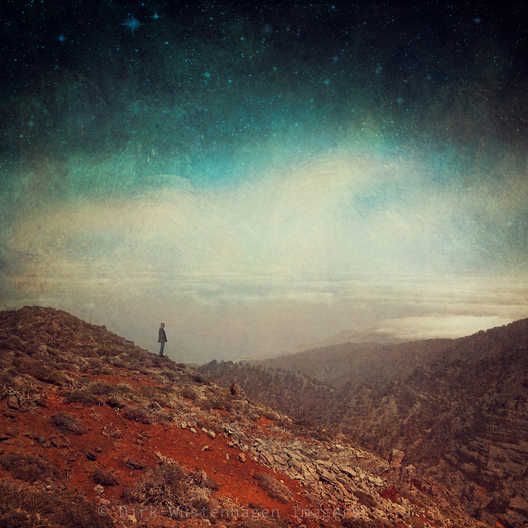 View from Roque de los Muchachos, La Palma, Canary Islands. Manipulated and texturized photograph.