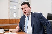 07 MAR 2019, BERLIN/GERMANY:<br /> Hubertus Heil, SPD, Bundesarbeitsminister, waehrend einem Interview, in seinem Buero, Bundesministerium fuer Arbeit und Soziales<br /> IMAGE: 20190307-01-011<br /> KEYWORDS: Büro