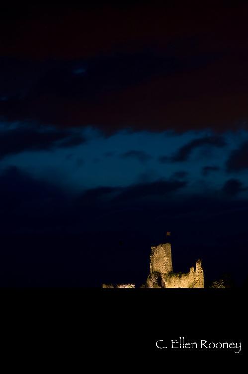 The Chateau de la Batie lit at night  in Vienne, France
