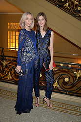 Left to right, PORTIA FREEMAN and LARA MULLEN at the Lancôme BAFTA Dinner held at The Cafe Royal, Regent's Street, London on 6th February 2015.